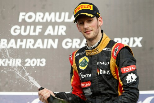 Romain Grosjean celebrates his first podium of the season